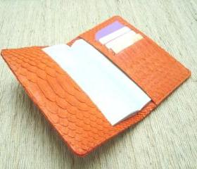 Leather passport cover. Snakeskin passport holder