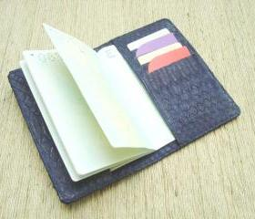 Snakeskin Passport Cover / Case. Blue Leather Passport Holder.