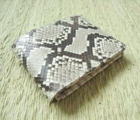 Snakeskin Leather Wallet Men - Leather Gray Wallet - Bifold Leather Wallet